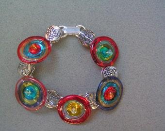 COLORFUL Lampwork Disc Bead Link Bracelet