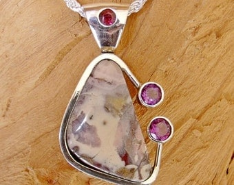 Porcelain Jasper Cabachon with Amethyst and Red Tourmaline Pendant in Sterling Silver RF639