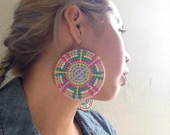 Circle Grid Weaved Multi Colored Earrings