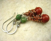 Red coral wire wrapped turquoise natural Stone copper Sterling Silver Earrings long dangle earthy earrings rustic earrings