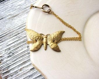 Gold Butterfly Bracelet Golden Brass Chain Bracelet Stacking Bracelet Boho Minimalist Simple Delicate Bracelet Gardener Gift Idea Naturalist