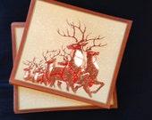 Vintage Holiday Christmas Greeting Card Set -Santa Reindeer  Lot of 15 cards