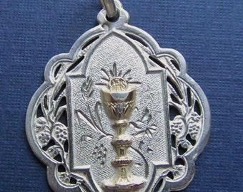 Antique Religious Medal French Silver Gold Holy Communion Catholic Pendant   SS426