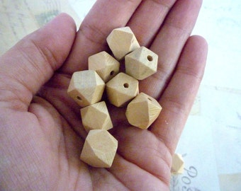 Geometric Wooden Beads - Natural - 12mm - Pack of 10