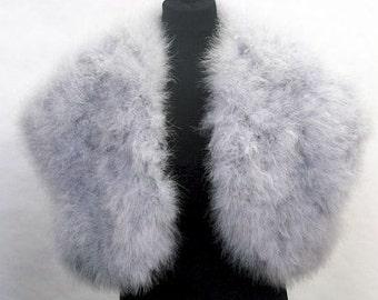 NEW ARRIVAL - Plus Size -HOLLYWOOD Vintage Glamour - Marabou Feather Shrug Wrap Stole Bolero Jacket - Silver Grey, Ivory, White, Black