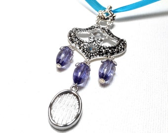 Memorial Photo Charm, Wedding Bouquet Jewelry - Periwinkle Fancy Pendant with Silver Photo Frame Charm - Includes Printing Service