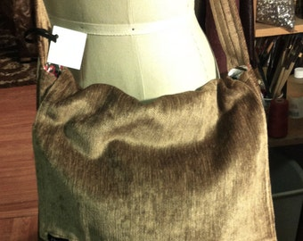 Soft Velvety Tan Chenille Upholstery Cross Body Messenger Bag.  On Sale!!