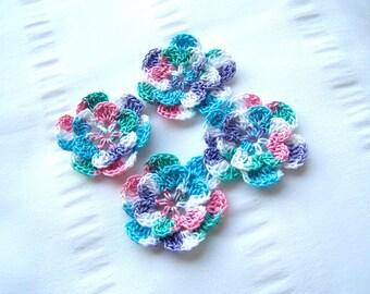 Crochet motif set of 4 flowers 1.5 inch summer fun