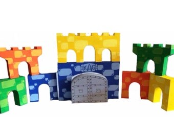 the custom collection - personalized customized wooden castle block set