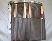 Roll It Ups Drumstick Bag : Drum Stick Bag Drummer Gift for Drummer Brown Vinyl