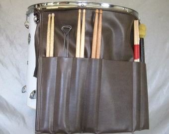 Roll It Ups Drumstick Bag : Drum Stick Bag Drummer Gift for Drummer Brown Vinyl