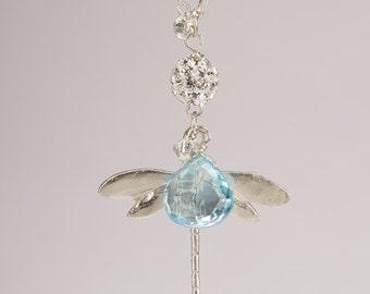 Dragonfly Bleu Topaz Sterling Silver Pendant Necklace