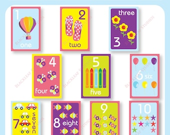 Numbers Flash Cards 1 to 10 Printable for toddlers, primary education, nursery decor, teaching material, educational printables, preschool