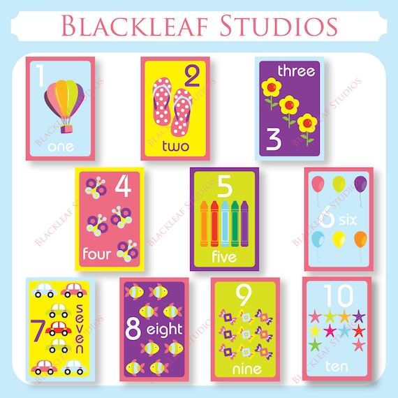 Numbers Flash Cards 1 to 10 Printable for toddlers, primary education ...
