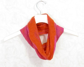 Felted Cowl Wool Cowl Infinity Scarf Gift for Her Circle Scarf Felt Scarf Wool Scarf Fuchsia Pink Orange Winter Scarf Fall Scarf Women Scarf