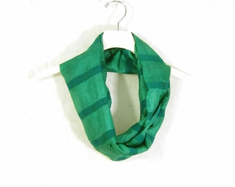 Green Silk Scarf Infinity Scarf Circle Scarf Gift for Her Spring Scarf Summer Scarf Lightweight Scarf Eco Sari Scarf Upcycled Scarf OOAK