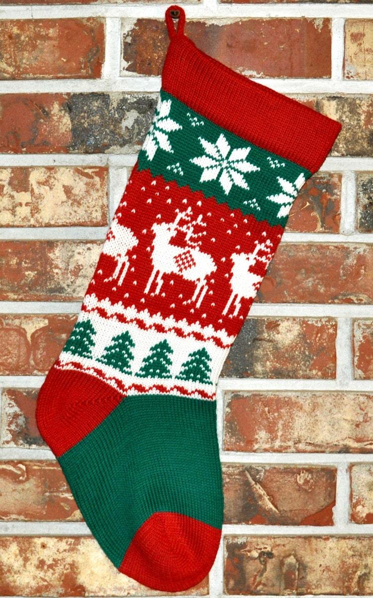 Knit Personalized Christmas Stocking 100% Wool Handmade