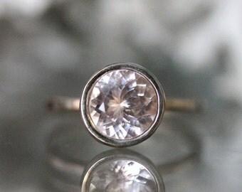 Morganite 14K Palladium White Gold Engagement Ring, Gemstone Ring, Stacking RIng, Milgrain Inspired, Eco Friendly - Made To Order