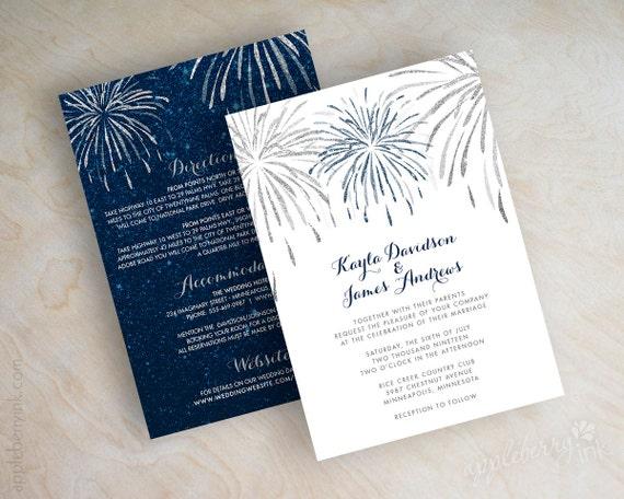 Navy blue and silver glitter wedding invitation 4th of july for Navy and silver wedding invitations uk