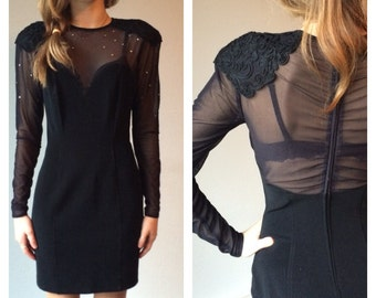 90s Mesh Dress, Sheer Sleeves, Black Dress, Minimal Dress, Sheer Cut Out, Mesh Bandage Dress, Diamonds Tight Short Dress Small Medium
