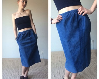80s Blue Suede Midi Skirt Blue Leather Skirt Midi Skirt With Pockets Suede Skirt Midi Pencil Skirt High Rise Leather Skirt Tight Skirt S M
