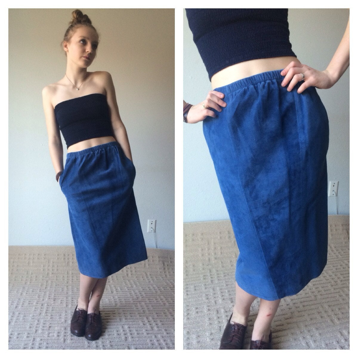 80s blue suede midi skirt blue leather skirt midi skirt with