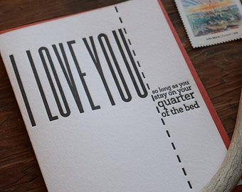 SASS-476 I love you so long as you stay on your quarter of the bed letterpress card