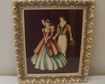 Vintage Framed Southern Belle Couple Turner Print