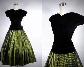 1950's Party Dress Vintage Black Velvet and Green Taffeta Skirt by Helen of California