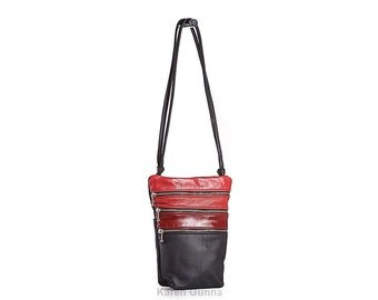 Small Leather Shoulder Cross Body Travel Bag-THE ANNA with 4 separate pockets