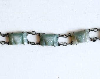 1940s sterling Mexican jade carved face link bracelet / vintage 40s Mexico silver green Aztec mask bracelet