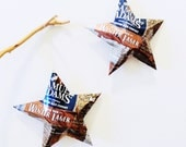 Samuel Adams Winter Lager  Seasonal Brew, Beer Stars Ornaments, Aluminum Can, Repurposed, Brown Blue