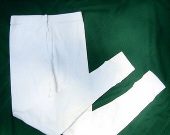 Blank Plain White Vintage Girls 10  Leggings leggins, longjohns, pajamas, plain white, blank for dye, prepared for dye