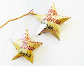 Simpler Times Lager Beer Stars Christmas Ornaments Aluminum Can Upcycled Minhas Craft Brewery