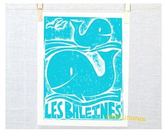 Les Baleines, Whales, French Wall Art, Nursery Art Print, Ocean Theme, Nautical, Beach Cottage Decor, Beach House