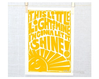 This Little Light of Mine Typography Sign Childrens Room Decor, Playroom Art, Art for Kitchen