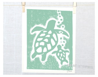 Sea Turtle, Beach Cottage Decor, Ocean theme, Honu, Hawaii, Kitchen Art Print, Modern Nursery, Beach House Art, Mother's Day, Mothers Day