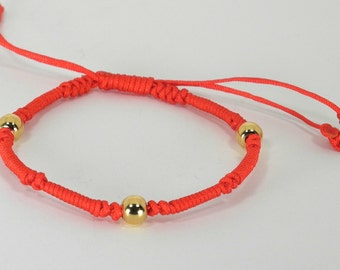 Chinese Good Luck Red String Bracelet with 3 Gold Beads