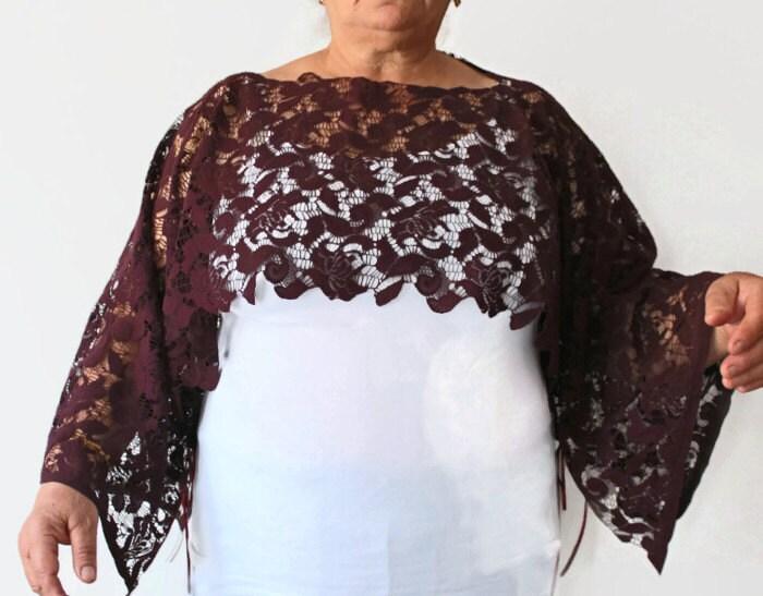 oversized burgundy lace top shrug poncho tunic plus size shawl