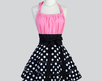 Flirty Chic Apron - Black and White Polka Dots Three Layer Flirty Skirt with Bubblegum Pink Waist Rockabilly Cute Sexy Retro Womens Apron