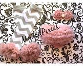 3 piece set Baby girl shabby chic Headband-Chiffon Ruffle Bum Baby Bloomer Legwarmer SET- Photo Prop- Vintage pink Grey white chevron