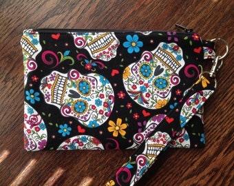 Day of the Dead Sugar Skull Wristlet with lining and strap