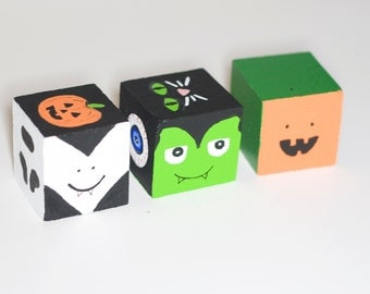 Usual Suspects Hand Painted Halloween Blocks - Wooden Spooky Decoration