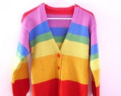 """Rainbow Sweater Cardigan // Vintage Striped Handmade Button Up // Knit V Neck Extra Small XS // Bust 33"""""""