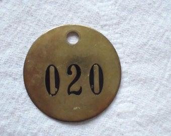 Vintage Livestock Cattle Brass NUMBER Tag 020 Twenty Key ID Antique Hotel Farm