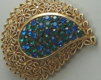 Karu Rhinestone Paisley Brooch Blue & Green Vintage Pin