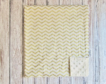 Metallic Gold and Ivory Chevron Baby Blanket with Ivory Dot Minky Back, Gender Neutral Baby Blanket