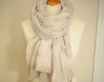 Winter Frost Cotton Scarf - Grey White - Tie Dyed - Womens Organic Accessory - Ready To Ship