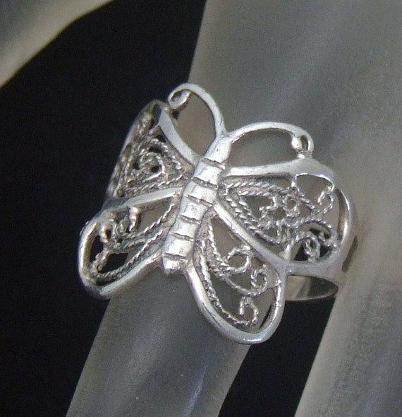 vintage butterfly ring silver ring sterling silver