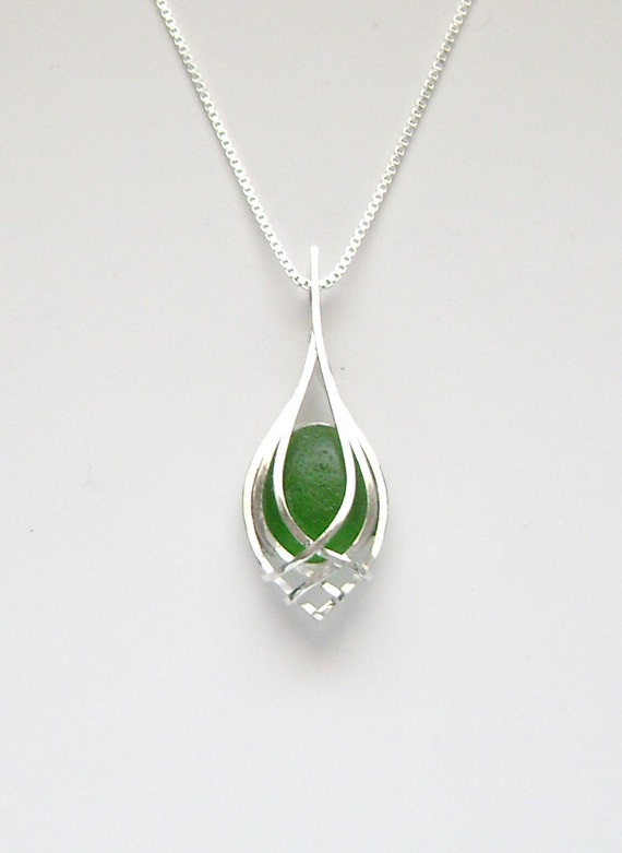 sea glass jewelry sterling caged green sea glass necklace